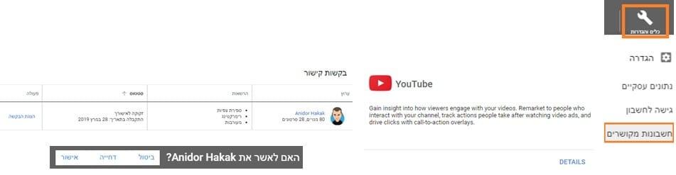 חיבור בין חשבון גוגל אדס לחשבון יוטיוב