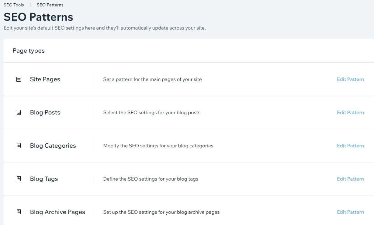 עריכת מבנה כותרות דפים באתר וויקס